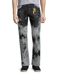 Robin's Jean Faded Paint Splatter Denim Jeans White Black