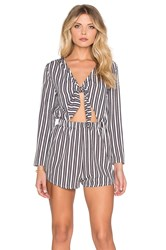 Oh My Love Tie Front Romper Blue
