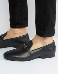 Frank Wright Bar Loafers In Black Leather Black