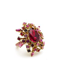 Oscar De La Renta Tiered Crystal Ring Hot Pink