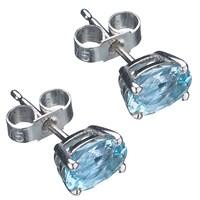 Ewa White Gold Aquamarine Stud Earrings