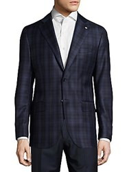 Lubiam Regular Fit Plaid Wool Sportcoat Navy