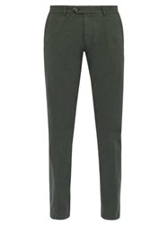J.W. Brine James Stretch Cotton Chino Trousers Green