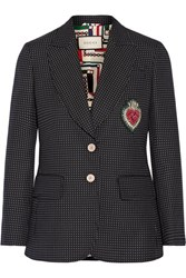 Gucci Embellished Polka Dot Wool Blend Blazer Midnight Blue