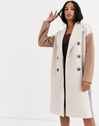 Y.A.S Oversized Colour Block Coat With Button Detail Stone