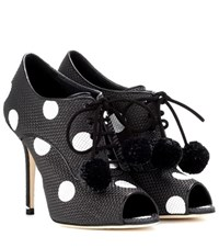 Dolce And Gabbana Polka Dotted Peep Toe Ankle Boots Black