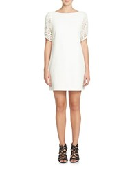 Cynthia Steffe Lace Accented Shift Dress Light Cream