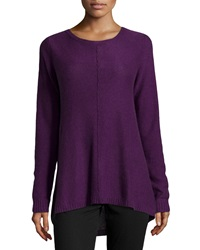 Neiman Marcus Cashmere Exposed Seam High Low Tunic Purple