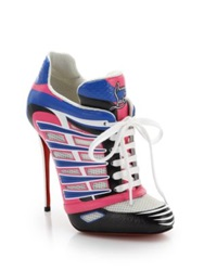 Christian Louboutin Boltina Lace Up Leather And Mesh Sneaker Booties Multicolor