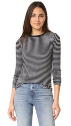 Alexander Wang T By Long Sleeve Crew Neck Tee Navy With Heather Grey Stripe