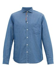 Paul Smith Artist Stripe Embroidered Placket Chambray Shirt Light Blue