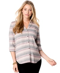 Wendy Bellissimo Maternity Lace Inset Printed Shirt Neutral Stripe