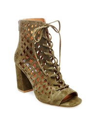 Steve Madden Denay Suede Lace Up Ankle Length Booties Olive