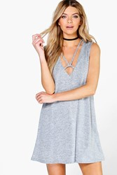 Boohoo Strappy Cage Front Swing Dress Silver
