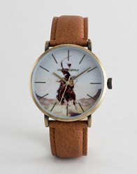 Asos Design Watch In Brown And Gold With Painted Rodeo Print Tan