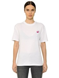 Mcq By Alexander Mcqueen Swallow Embroidered Cotton T Shirt