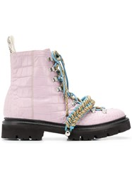 House Of Holland X Grenson Croc Effect Hiking Boots Pink