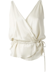 Wunderkind Drawstring Cross Over Top Nude And Neutrals