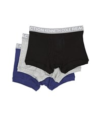 Kenneth Cole Reaction 3 Pack Trunk Black Grey Heather Dark Blue Men's Underwear Multi