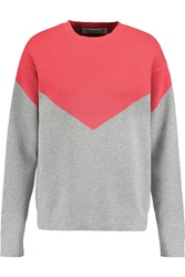 Etre Cecile Chevron Two Tone Stretch Knit Sweatshirt Red