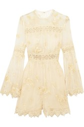 Zimmermann Tropicale Antique Lace Trimmed Embroidered Silk Georgette Playsuit Ivory