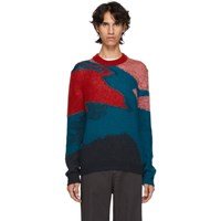 Paul Smith Ps By Red Multicolor Multipattern Crewneck Sweater