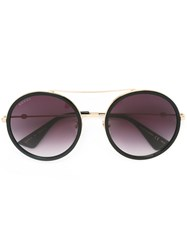 Gucci Eyewear Round Frame Metal Sunglasses Women Acetate Metal 56 Black