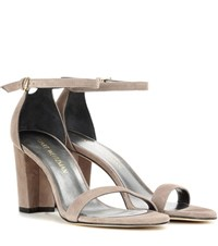 Stuart Weitzman Nearlynude Suede Sandals Brown