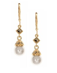 Judith Jack Sterling Silver Faux Pearl Drop Earrings Gold
