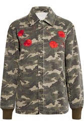 Opening Ceremony Tigers Coach Appliqued Camouflage Print Cotton Canvas Jacket Army Green