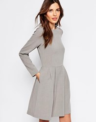Selected Trina Long Sleeve Dress With Pleat Skirt Grey