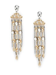 Natasha Nature Inspired Fringe Crystal Drop Earrings Gold