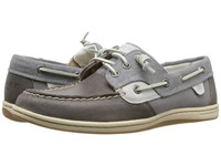 Sperry Songfish Waxy Canvas Medium Grey Women's Lace Up Moc Toe Shoes Gray