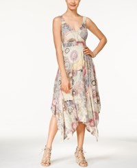 American Rag Printed Empire Waist Handkerchief Hem Maxi Dress Only At Macy's Oatmeal Multi