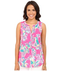 Lilly Pulitzer Sleeveless Stacey Top Dragonfruit Pink Toucan Can Women's Sleeveless