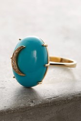 Anthropologie Turquoise Cresent Ring Gold