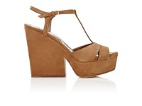 Sergio Rossi Women's T Strap Platform Sandals Brown Light Green Brown Light Green