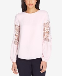 Tahari By Arthur S. Levine Asl Lace Inset Blouse Pink