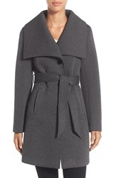 Laundry By Design Women's Belted Neoprene Wing Collar Coat Charcoal