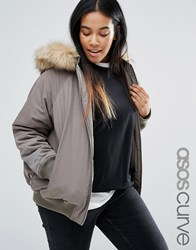 Asos Curve Bomber Jacket With Faux Fur Hood Khaki Green