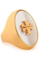 Tory Burch Gold Tone Mother Of Pearl Ring Silver