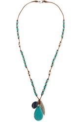 Chan Luu Leather Multi Stone Necklace Turquoise