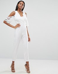 Love Triangle Lace Top Jumpsuit With Cold Shoulder Detail Cream