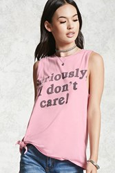 Forever 21 Faded Graphic Muscle Tee Pink Black