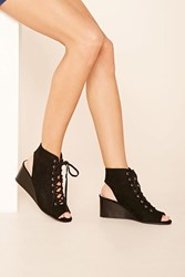 Forever 21 Faux Suede Lace Up Wedges