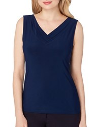Tahari By Arthur S. Levine Petite Sleeveless V Neck Jersey Top Navy