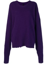 Unravel Project Oversized Distressed Crewneck Sweater Pink And Purple