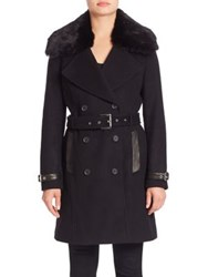 Andrew Marc New York Trench Coat With Detachable Fur Collar Dark Charcoal