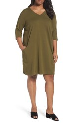 Eileen Fisher Plus Size Women's Organic Cotton Jersey Shift Dress Olive