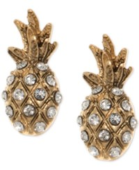 Lonna And Lilly Gold Tone Pave Pineapple Stud Earrings Crystal